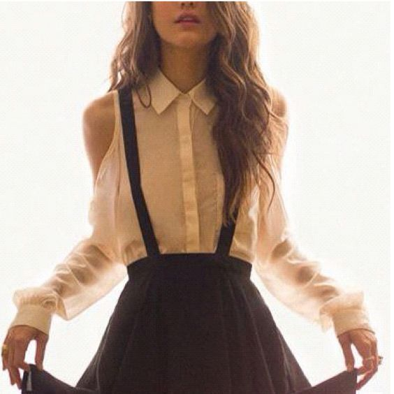 Skirt jumper + tousled hair: