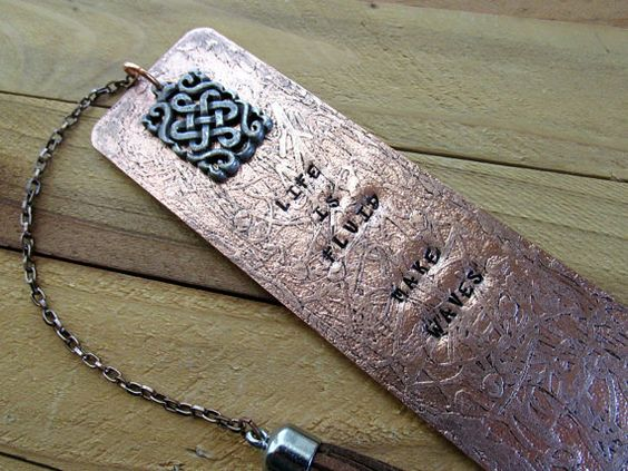 Etched & Stamped Metal Copper Bookmark Make Waves by FHGoldDesigns