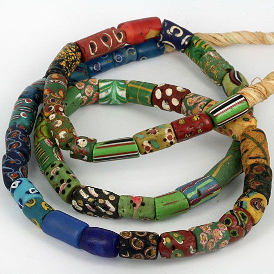 Antique Venetian fancy glass trade beads strand African trade Tribal ethnic jewelry