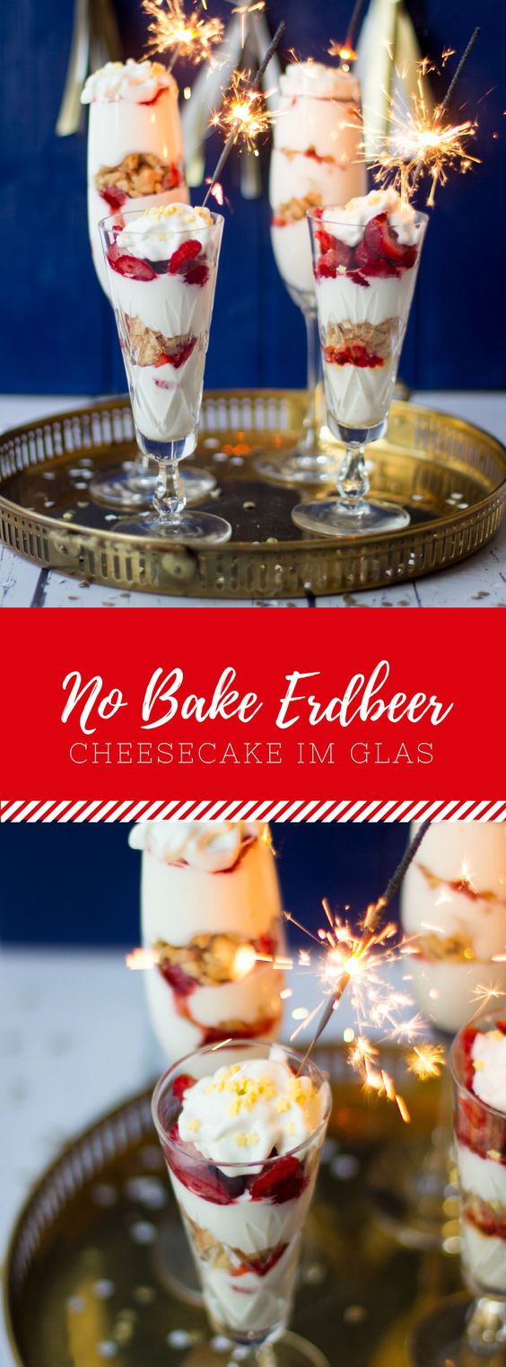 No Bake Erdbeer Cheesecake im Glas