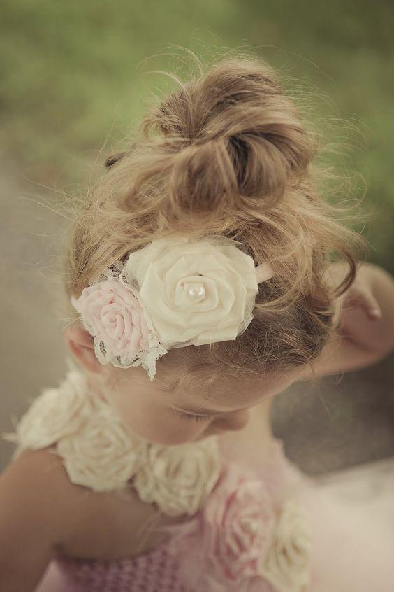 Light Pink and Ivory Flower headband, Vintage, Flower girl headband. $19.95, via Etsy.