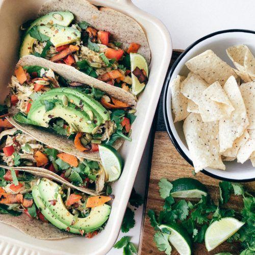 3 Step Shredded Chicken Verde Tacos Rachael S Good Eats Recipe In 2021 Chicken Verde Healthy Dinner Recipes Healthy Dinner