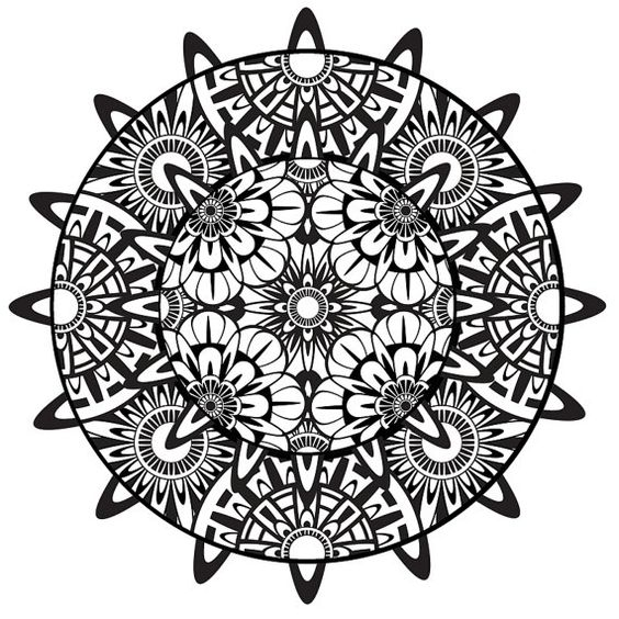Mandala Coloring Page, Mandala, Printable Coloring Page, Instant Download, Psychedelic, Mandala Art, Zentangle, Black and White