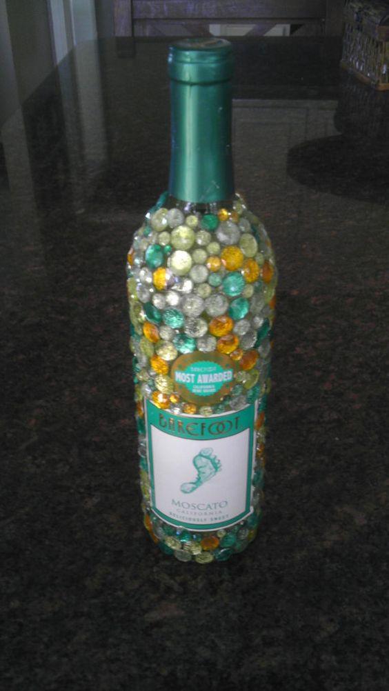 bling wine bottle by badablingbaby on etsy   25 00