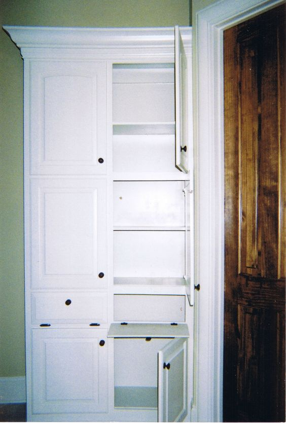 Astounding Built in Linen Closet Cabinets with Raised Panel Cabinet Door  Styles in White and Black
