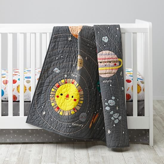 Deep space crib bedding planets crib sets and baby quilts for Outer space decor for nursery