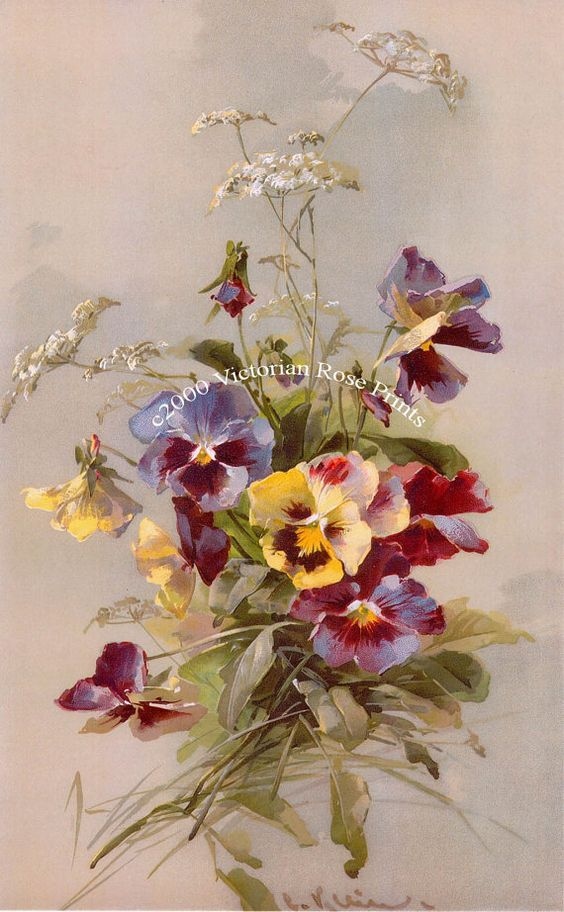 Print Free Ship French Spring Pansies by VictorianRosePrints