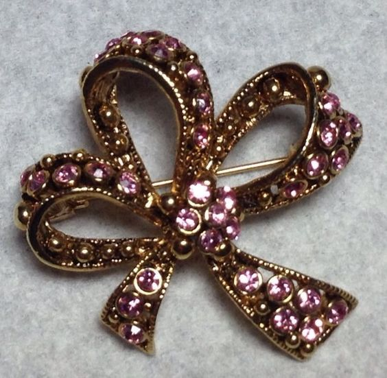 GOLD PLATED PINK RHINESTONE BOW BROOCH / PIN