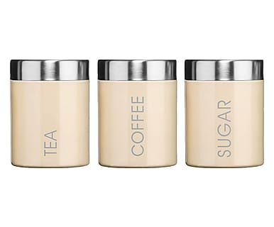 Set di 3 barattoli (te'/zucchero(caffe') in smalto crema - 9.5x12.5 cm