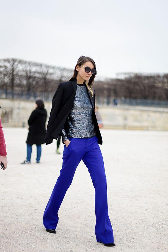 Paris. Cobalt boot cut trousers.