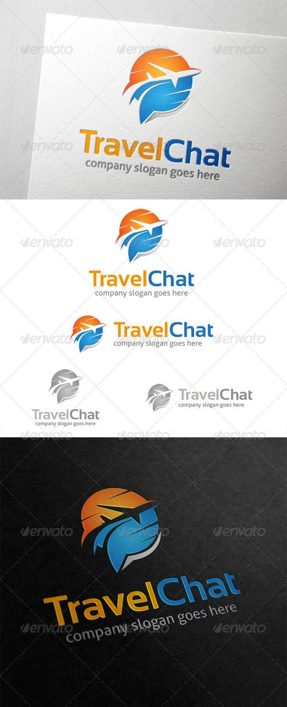 Travel Chat Logo  #GraphicRiver         Travel Chat Logo is suited for travel website business that provide information about beautiful places to visit.