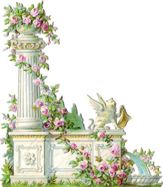 Oblaten Glanzbild scrap diecut chromo Stein Brunnen  10,5cm fountain spring rose: