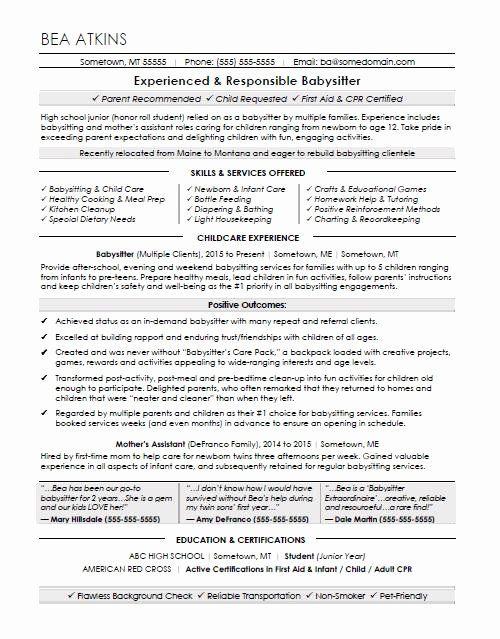 Babysitter Job Description Resume Lovely Babysitter Resume Sample In 2020 Babysitter Resume Babysitter Jobs Babysitting