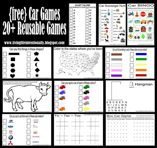 20+ Reusable Car Games from Living Life Intentionally