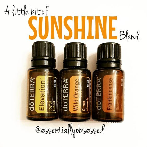 """""""Have the winter blues or just love the warm feeling of the sun on you face like this mama!?  Then, this Sunshine Blend is going to be a new favorite! In a 10ml rollerball combine: 15 drops Elevation, 15 drops Wild Orange and 10 drops Frankincense. Top with fractionated coconut oil and roll on bottoms of feet, across your wrists and down your neck OR put 2 drops Elevation, 2 drops Wild Orange and 1 drop Frankincense in your diffuser and enjoy!"""