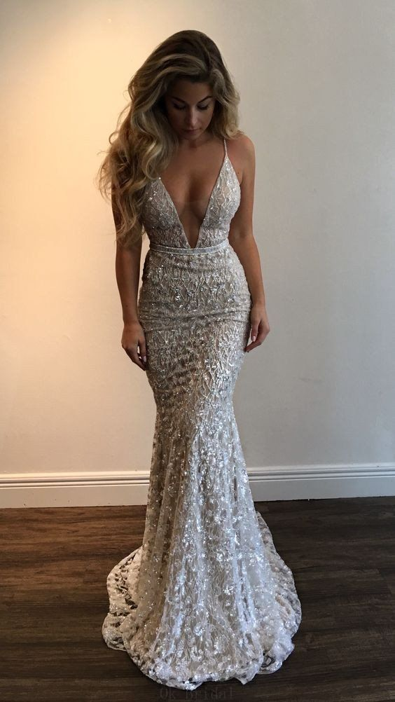 Hot Sale Popular Prom Dresses Long Gorgeous Deep V-Neck Spaghetti Straps Sleeveless Mermaid Long Prom Dresses