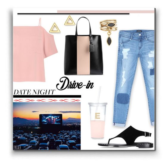 """""""Summer Date: The Drive-In"""" by louise-frierson ❤ liked on Polyvore featuring Bebe, T By Alexander Wang, Barbara Bui, Eddie Borgo, Mateo, Kate Spade, McQ by Alexander McQueen, DateNight, drivein and summerdate"""
