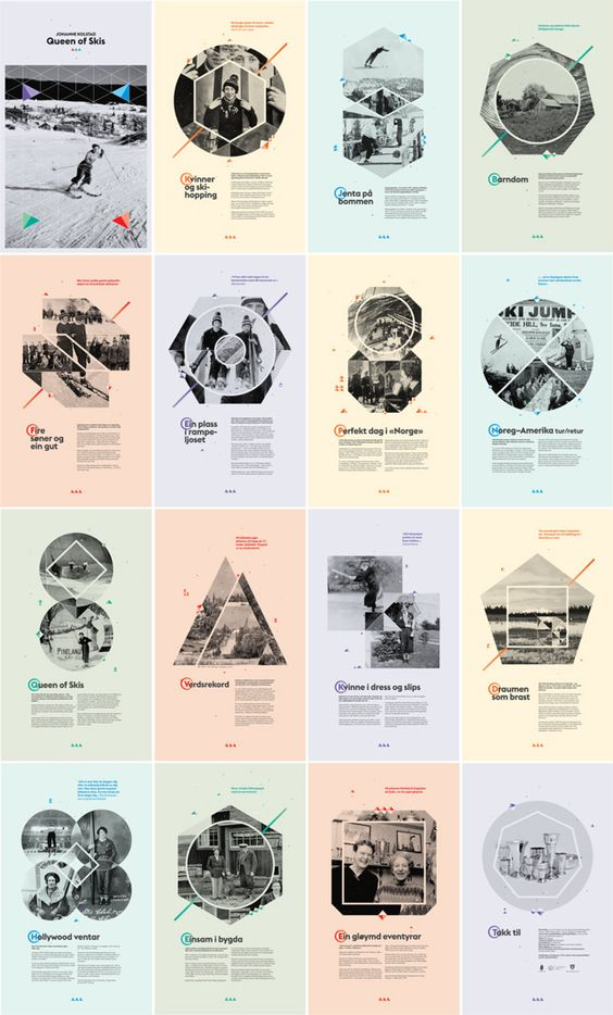 16 posters for an exhibition about Johanne Kolstad, a woman who broke taboos about women in sports. Ski Jumper world record. Valdres Folk Museum in Norway. a project done for: Velour design.