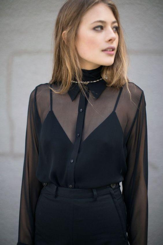 outfits negro con falda y camisa