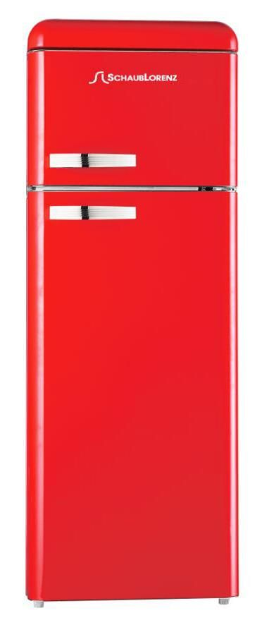 Spice up your kitchen with this fire red refrigerator with a built-in freezer at the top!