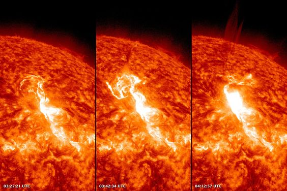 The images above show a HUGE solar flare as observed by the Atmospheric Imaging Assembly (AIA) on NASA%u2019s Solar Dynamics Observatory (SDO) at 0327, 0342, and 0412 GMT on January 23 (10:27 p.m., 10:42 p.m. and 11:12 p.m. EST on Jan. 22).