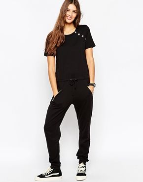 ASOS Drawstring Jersey Jumpsuit With Metal Poppers and Zips