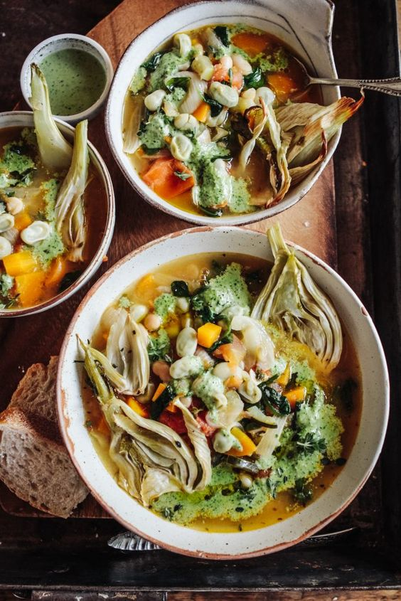 Spring Veg Stew with Pesto & Roast Fennel - Rebel Recipes