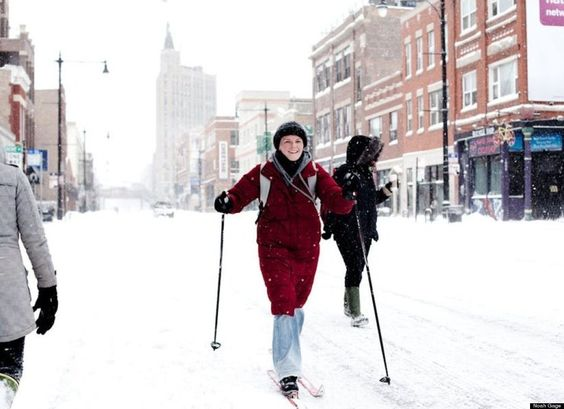 Love it, who said you need a ski resort?  Skiing in Wicker Park A neighborhood of Chicago.