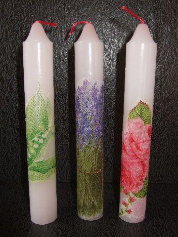 デコパージュの細キャンドル薔薇とスズラン、ラベンダー柄3本setです絵柄は燃えたりせず、残りますお仏壇などのキャンドルとしても どうぞご利用ください♪キャンド...|ハンドメイド、手作り、手仕事品の通販・販売・購入ならCreema。