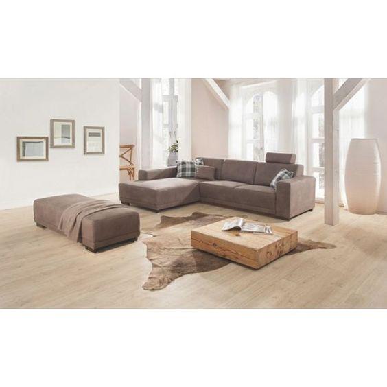 WOHNLANDSCHAFT in Braun, Grau Textil - Wohnlandschaften - wohnzimmer beige braun grau