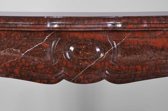 Pompadour antique #Fireplace in Red Griotte marble, #19thcentury #frenchantiques Available on #MarcMaison 's website
