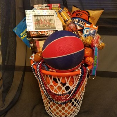 Basketball Gift Basket From Connie S Creations In 2020 Basketball Gifts Basketball Senior Night Gifts Basketball Theme Gifts