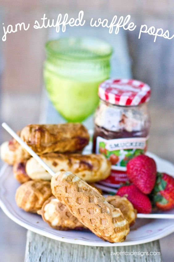 jam filled waffle pops - these taste so good and are really easy to make!