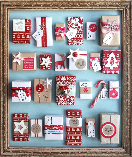 Handmade Advent Calendar - gorgeous little boxes, all upcycled (matchboxes, raisin boxes, pudding boxes, jewelry boxes) and this gifts all personalized by kid.