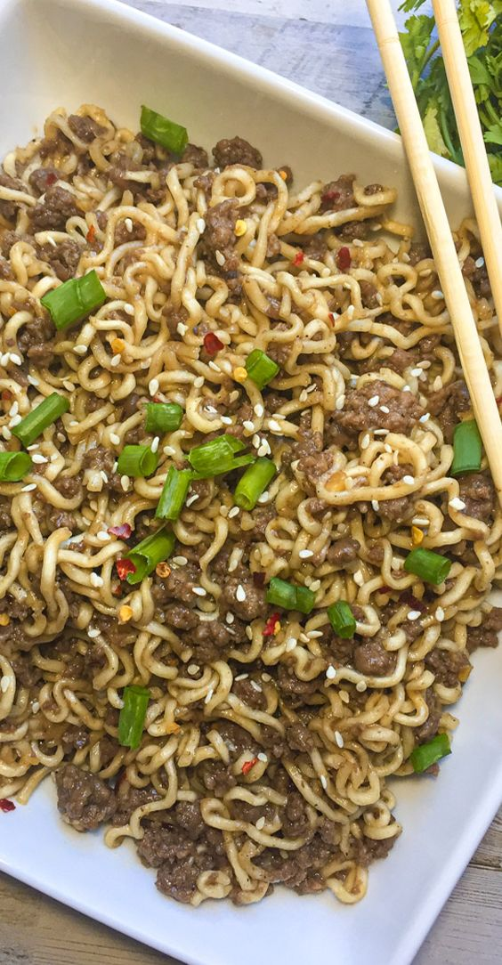 Ground Mongolian Beef Ramen Modernmealmakeover Com Recipe In 2020 Beef Ramen Recipe Noodle Recipes Easy Ground Beef Recipes For Dinner
