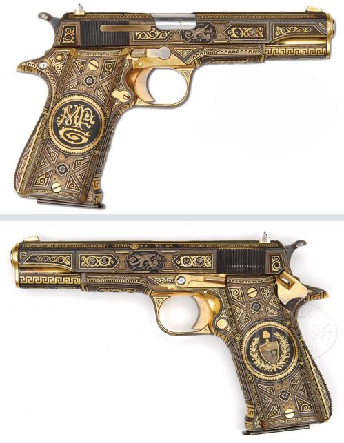Star Super Model-A pistol formerly owned by famous singer Frank Sinatra,  Likely gifted to Sinatra when he performed for a convention held by the Cosa Nostra (mafia) in Havana, Cuba in 1946.   It is mounted with solid silver grips and the entire pistol is inlaid with gold and silver in fantastic geometric designs, some of which are inlaid gold and others are damascened.