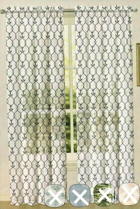Coral Cove Anchor White Tropical Semi Sheer Curtains 2 Panels 84