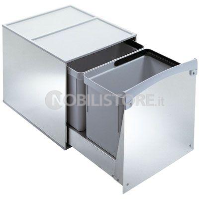 LAVENOX SY.C.11 pattumiera ecologica scorrevole da cucina in acciaio inox.