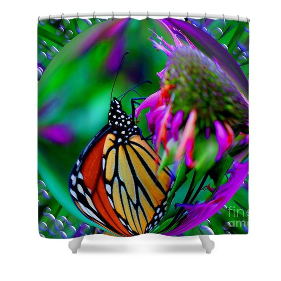 Monarch butterfly in an abstract bubble design shower curtain.  Photography by Susan.