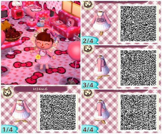 Top Pink hello kitty animal crossing new leaf acnl qr code dress  FD79