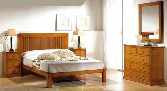 Muebles de dormitorio en madera maciza con cabecero de - Muebles de madera color nogal ...