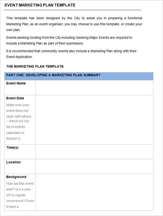 Event Marketing Plan Template  Free Word Documents Download