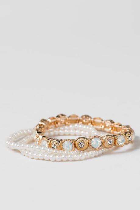 Olivia Pearl & Stone Stretch Bracelets $16.00