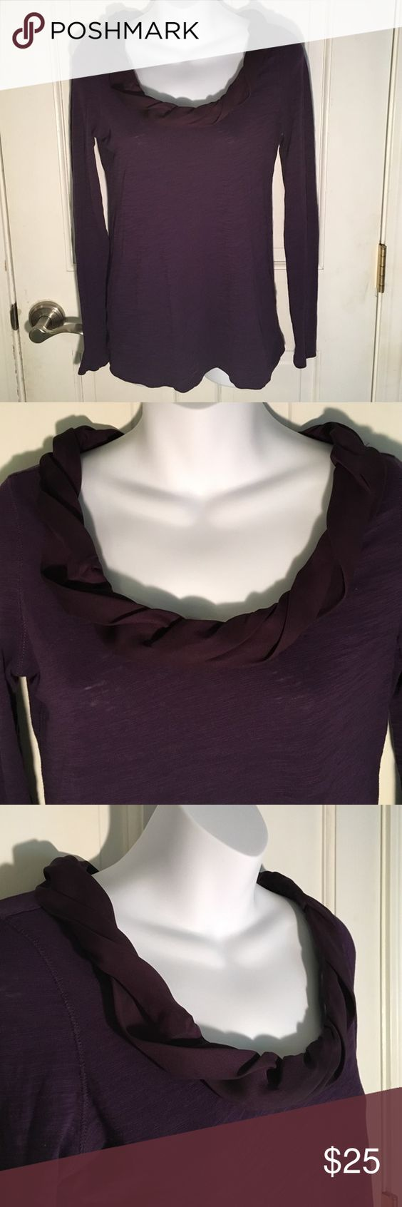 Ann Taylor Loft Plum Long Sleeve Blouse In excellent used condition. Only worn one time. Beautiful silk detailing around the neckline. Made from 100% cotton.          My closet rules💜 🚫no holds 🚫no PayPal 🚫no trades 🚫no 🚭home  🚫no 🐶home 🚫NO low⤵️ballers! 📦Very fast shipper! Ann Taylor Tops Blouses