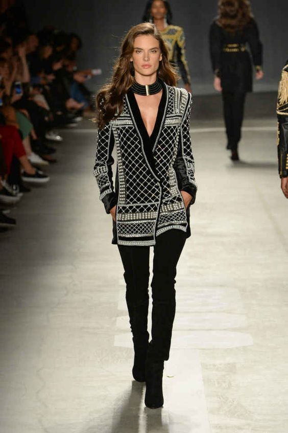 Alessandra Ambrosio walks the runway at the Balmain x H