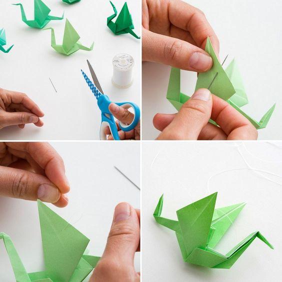 fabriquer des décorations maison: pliage de papier en grue