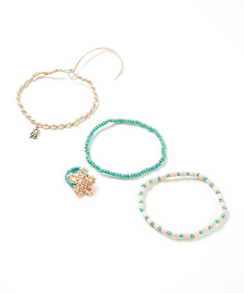 Take+a+look+at+the+Turquoise+&+Tan+Beaded+Anklet+&+Toe+Ring+Set+on+#zulily+today!