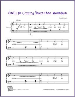 She'll Be Coming 'Round the Mountian | Free Sheet Music for Piano