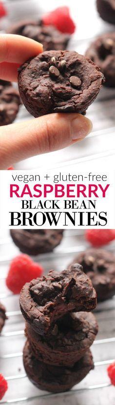 Vegan and Gluten-Free Raspberry Black Bean Brownies