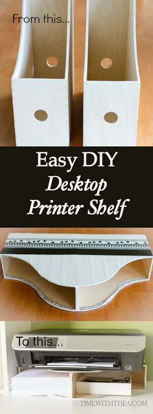 Easy DIY Desktop Printer Shelf ~ I was frustrated with the amount of space our printer took on the desktop and the wasted space it created underneath. So I created my own inexpensive printer shelf out of an unlikely item that was super easy to make!: